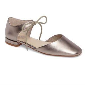 Seychelles Metallic Pewter Ankle Tie Flats Anthro